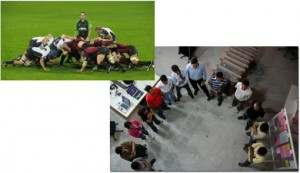 A rugby scrum as opposed to how software engineers do it.